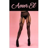 AME101 - Чулки с поясом Amor EL, чёрные - S/L