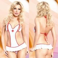 173126 - Боди медсестры с разрезами на груди Soft Line, бело-красное - S/M
