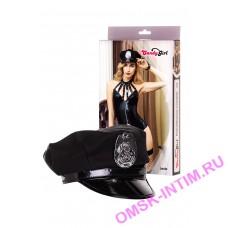 841056 - Костюм полицейской Candy Girl Lexie (корсет, танга, головной убор, браслет, чулки, подвязка, пистолет) черный, OS