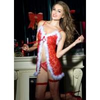 e8751 - белый/красны - Комплект женский снегурка (платье, чулки, стринги)