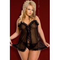 1547110 - Прозрачная ночная сорочка с кружевными оборками и стринги, черные - XXXL