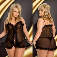 154719 - Ночная сорочка и стринги SoftLine Collection Kaya, черный, XXL