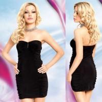 160217 - Мини-платье без бретелей черное-M/L