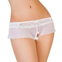 741092 (50-52) - Эротические трусики-юбочка из стрейч-сетки белые