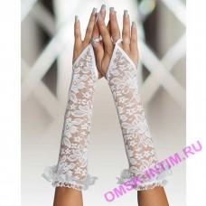 770820 - Перчатки кружевные, до локтя, белые-S\L