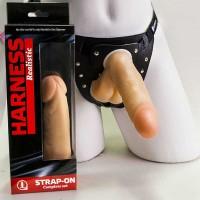 281603ru - Страпон Харнес в подарочной упаковке из ПВХ, телесный