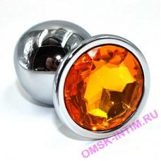 AP-AL001-LLY - Серебряная анальная пробка с желтым кристаллом (Large)