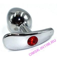 AP-AL034-SR - Серебряная анальная пробка для ношения c красным кристаллом (Small)
