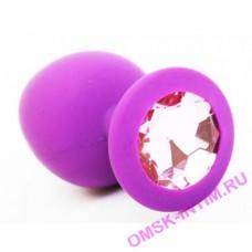 """EH LA 1710-059LV - Втулка анальная """"Soft crystal""""с кристаллом силиконовая, диаметр 4,2 см фиолетовая"""