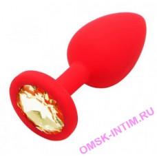 """EH LA 1710-059R - Втулка анальная """"Soft crystal""""с кристаллом силиконовая, диаметр 4,2 см красная"""
