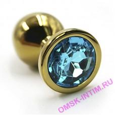 KL-AL005SG - Анальная пробка из аллюминия золото light blue