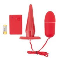901311-9 - Анальная пробка и виброяйцо с пультом ДУ красные