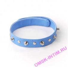 5034-5 BX SIT - Ошейник с шипами и заклепками голубой