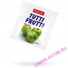 30010 - Съедобная гель-смазка TUTTI-FRUTTI для орального секса со вкусом яблока,4 гр