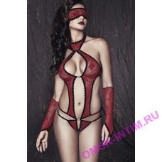 Ashley-5 - Боди, маска и перчатки Anais Ashley, красно-черный, XL