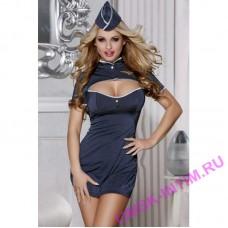 841017 - Костюм пилота Candy Girl (платье,стринги, головной убор), синий, - OS