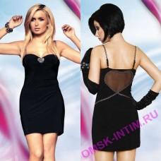 5591170917 - Платье с прозрачной вставкой сзади, черное - M/L