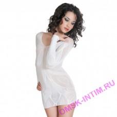 940010 - Платье бесшовное с рукавами, с цветочным рисунком, пурпурное-S/L