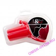 901321-9 - Насадка с кольцом на мошонку и клиторальным стимулятором, красная
