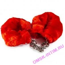 HAFTR001 - Наручники стальные с красными меховыми чехлами Vulgar, серебристые