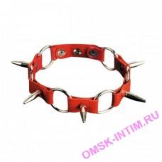 3109-2 BX SIT - Ошейник с кольцами и шипами красный