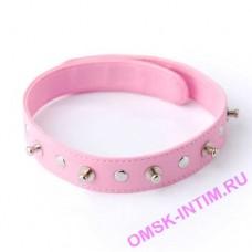 5034-4 BX SIT - Ошейник с шипами и заклепками розовый