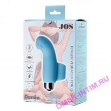 782007 - Вибронасадка на палец JOS DANKO для точки G, силикон, голубая, 9,5 см
